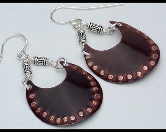 HAMMERED COPPER - Handforged Oxidized Textured Copper and Silver Earrings - New for Spring!