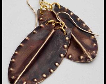 ISA - Handorged Foldformed Flamed Bronze Shield Earrings