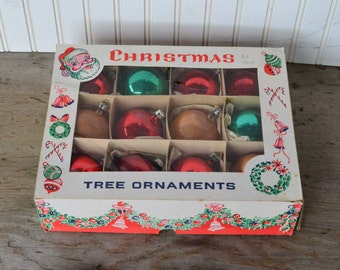 12 Vintage Christmas Ornaments, Gold, Red, and Green, Poland,