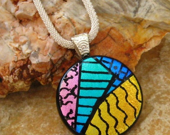 Round Fused Glass Necklace, Dichroic Fused Glass Zentangle Pendant, Hand Etched Fused Glass Pendant - Rainbow Illusion