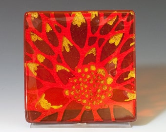 Dahlia Fused Glass Catch-all Dish