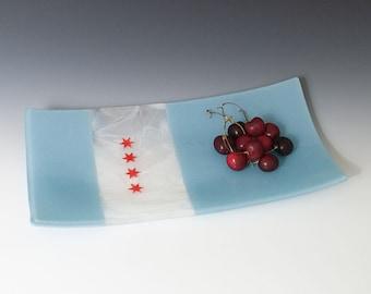 Chicago Flag glass serving platter