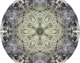 Mandala Art, Zen Art, Abstract Wall Art, Peaceful Art, Nature Wall Decor, Circle Art Print in Sage Green & Grey