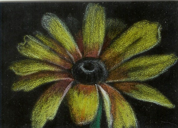 ACEO Original Colored Pencil   Yellow Daisy