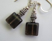 Smoky Quartz and Sterling Silver Earrings Handmade Beaded Jewelry by Sterling Creations