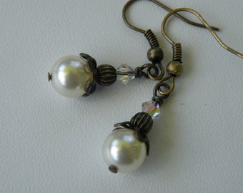Earrings - Brass, Cream Pearl and Crystal fall fashion