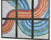 Stained Glass Mosaic Wall Panel-Blue, Green, Red, Orange