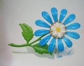 Gänseblümchen in Blume gebacken Emaille Pin Brosche Metall Vintage-Schmuck