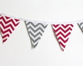 Chevron Bunting Pink and Gray party decoration. Fabric sewn Circus flag Banner. Photo prop. 12 Pennant flags