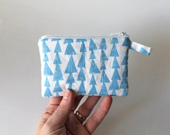 MINI. Blue arrows credit card zipper pouch. Triangle coin purse lined in Chambray.  -Ready To Ship.