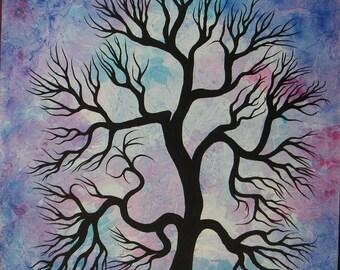 FREE SHIPPING, Frosty tree, Winter tree, Original painting, tree painting by Jordanka Yaretz