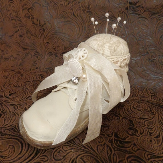 Precious Leather Baby Shoe Pincushion Embellished with Vintage Buttons, Antique Lace and Trim FREE SHIPPING