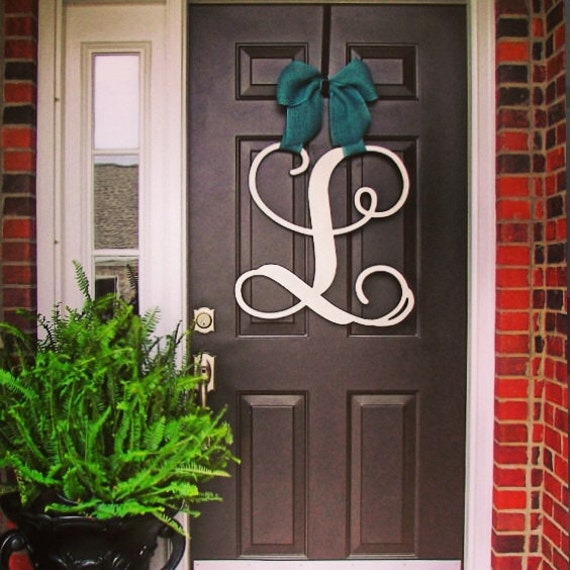 front door monogramCustom Single MONOGRAM door hanger  BURLAP bow House warming