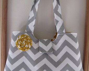 SALE Handbag Purse Tote IPad Netbook Tote Gray and White Chevron with Removable Fabric Rose Pin