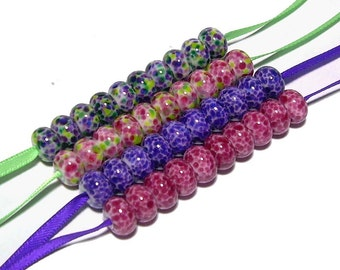 Mini Bead Collection in Violet, Purple, Pink, Fuchsia, Lime, and Green - Handmade Lampwork Glass Beads SRA (40)