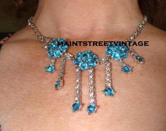 Fabulous  Ora Exquisite Sparkling  Pave' 3 Blue and Crystal Flower Dangle Rodium Special Ocassion Necklace
