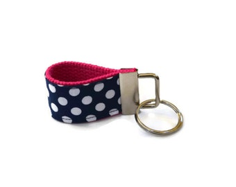 Navy Blue Polka Dot and Hot Pink Key Ring