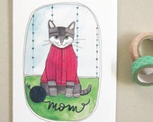 Cat Card for Mom - Blank Card for Mom - Funny Card - Fun Card for Mom - Blank Card - Cat Stationery - Cat Mom