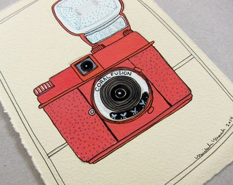 Sale - Original Art - Camera Art - Original Drawing - Original Illustration - Vintage Camera Art - Camera Painting - Coral Fusion