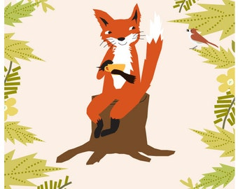 cute fox art original illustration in white 11 x 14 inch mat great nursery gift