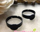 FN-RB-07014 - Nickel free, Black enameled, Adjustable Glue on ring blank, 10 pcs