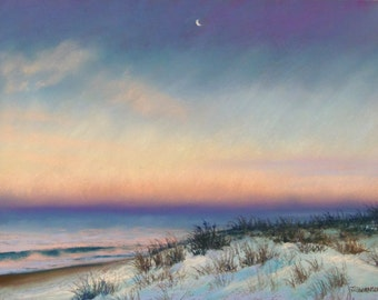 Snow at Sunrise in Bay Head Original Pastel Painting 9x12 inches Jersey Shore where we have the most beautiful beaches FREE SHIPPING