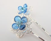 Something Blue No.39 Light Sapphire Blue Swarovski Flower Bobby Pin Set - Silver Finish