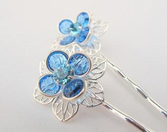 Something Blue No.39 Light Sapphire Blue Swarovski Flower Bobby Pin Set - Silver Finish