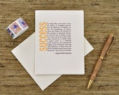Emerson Quote - Definition of Success - Letterpress card