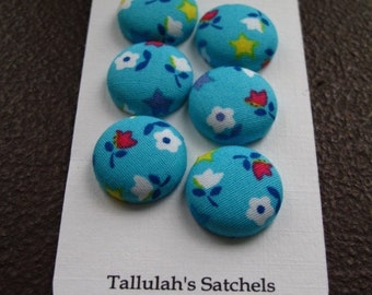"""Wearable Sew On Fabric Covered Buttons - Size 30 or 3/4"""" Tiny Flower on Turquoise"""