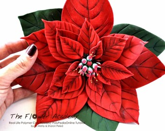 Polymer clay tutorial, Life-Like Polymer Clay Flowers tutorials | Real Life Poinsettia flower, Holly, Lily | 8 Projects, 5 Videos | Vol 52