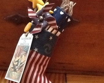 Patriotic 4th July Amricana mini stocking for red white blue decor