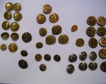 Antique Vintage Metal Military Buttons