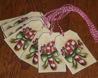 Set of 9 Primitive Country Christmas Holiday Winter Candy Canes - Hang Tags Gift Ties Goodie Bags Tree Ornaments Ornies