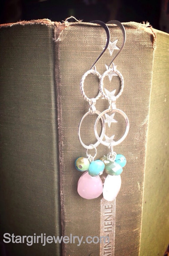 Faceted rose quartz turquoise and crystal hoop earrings