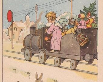 vintage French Christmas card, a printable digital image no. 1479.