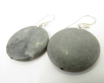 Geometric Grey Stone Marble Slab Circle Christian Earrings, Sterling Silver - THUNDER