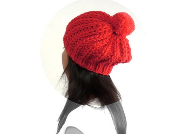 Snow / Ski PomPom Slouch Hat for Women and Teens. Vermilion / Red. Vintage Style. Autumn / Harvest / Winter Fashion.
