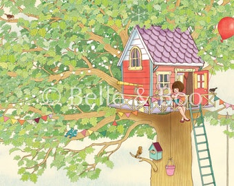 Girls art print, Nursery art print, Belle's Tree House, Giclee print