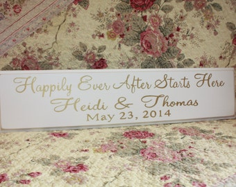 CUSTOM Wedding Sign Happily Ever After Starts Here GOLD Hand Painted