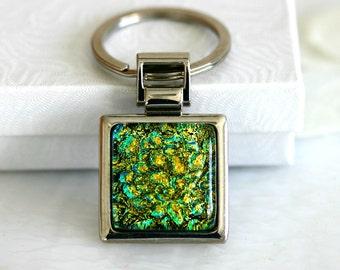 Gold n Green Key Ring Dichoric Glass Key006