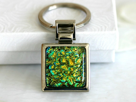Gold n Green Key Ring Dichoric Glass Key006