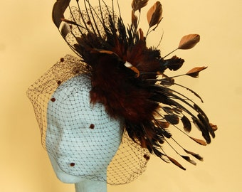 Taxidermy Rooster Wing Fascinator w/Antique Swiss Dot Veiling