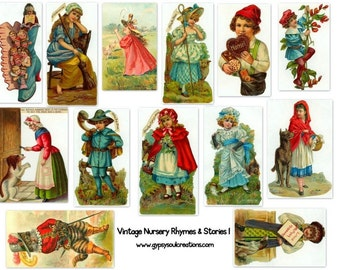 Vintage Nursery Rhyme Images - Altered Arts -  Digital Collage Sheet