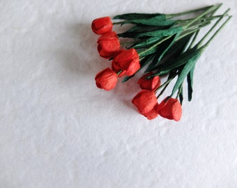 Red paper tulips - red mulberry paper flowers