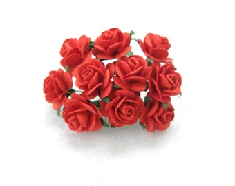 20mm red paper roses - red paper flowers - mulberry paper flowers