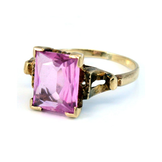10K Vintage Retro Mid Century CT Pink Sapphire Cocktail Ring