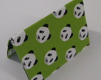 Passport Cover Case Holder Travel Cruise Holiday Honeymoon - Panda Bears on Green