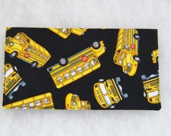 Checkbook Cover - School buses
