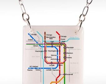 Chicago Transit Necklace - CTA Necklace, Chicago Subway, Chicago Jewelry, chicago map, chicago pendant, cta pendant